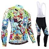 BXIO Jerseys de Ciclismo para Mujeres, Trajes de Ciclismo de Invierno Manga Larga y Babero MTB Warm Bike Clothing 187 (Winter Type(Long Jerseys and Bib Pants), S)