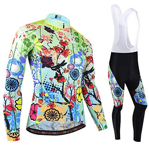 BXIO Ciclismo Maglie da Donna, Inverno Ciclismo Abiti Manica Lunga e Salopette Collant MTB Caldo Bike Abbigliamento 187 (Maglie Lunghe e Pantaloni), L)