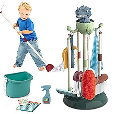 Dinosaur Kids Cleaning Set,10 pcs Pretend Play Household Cleaning Tools w / Mop,Broom,Duster,Spray Bottle,Bucket,Glass Cleaner,Dustpan,Dish Cloth,Brush,Housework Card & Organizing Stand for Toddlers from GATERTOYS