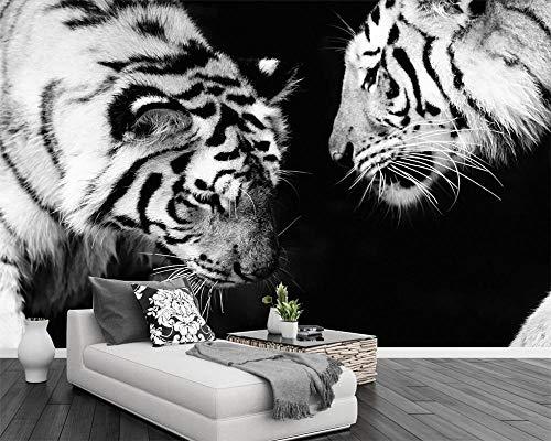 Fotobehang zwart en wit tijger tv-achtergrond muren dier modern minimalistische woonkamer slaapkamer 3D fotobehang 350 * 245 cm
