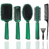 Taywes Juego de 6 cepillos para el pelo para hombres y mujeres. Juego de cepillos redondos para desenredar el pelo. Juego de peinados para cabello seco, rizado y liso. Masajear.