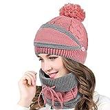 Yuson Girl Juego de 3 gorros de mujer de invierno, con correas, gorros de punto, gorros y bufandas para la cara 3PC-Rosa M