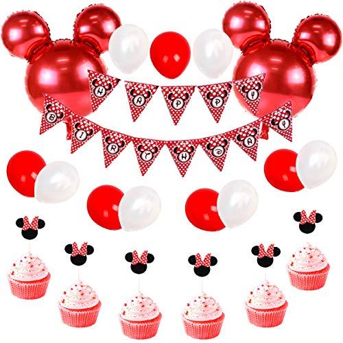 JOYMEMO Minnie Themed Geburtstag Dekorationen rot und schwarz, Happy Birthday Bunting Banner und Minnie Cupcake Toppers für Baby Shower, Minnie Partydekorationen