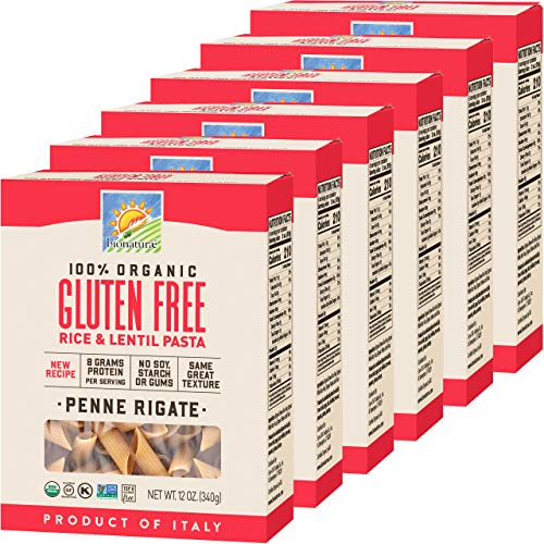 Bionaturae Penne Rigate Gluten-Free Pasta | Rice and Lentil Penne Rigate Pasta | Non-GMO | Lower Carb | Kosher | USDA Certified Organic | Made in Italy | 12 oz (6 Pack)