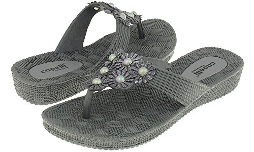 Capelli New York Woven Textured Injected Hooded Thong with Glitter Faux Leather Flowers Ladies Flip Flop Pewter Grey 7