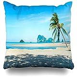 Blue Tropical Sea Nature Island Bay Beach Boat Cancún Sunlight Awesome Fundas de almohada para aviones de viaje, 45 x 45 cm