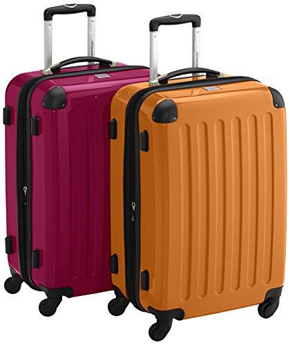 HAUPTSTADTKOFFER - Alex Kofferset - 2 x mittelgroßer Koffer Hartschalentrolley mit Erweiterung, 55 cm, 42 Liter, Magenta-Orange