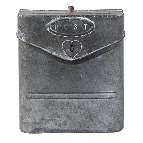 Clayre & Eef 6Y2305 Eisen Briefkasten Post Herz Grau Silber 24 x 10 x 29 cm