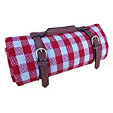 RealPero Extra Large Picnic Blanket Waterproof Camping Mat Rug with PU Carrier Soft Lightweight Portable Outdoor Mat for Travel Lawn Camping on Grass Sand-Proof Beach Red White Plaid