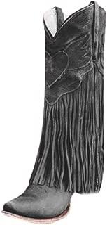 ✦◆HebeTop✦◆ Women's Fringe Moccasin Flat Heel Zipper Under Knee High Boots
