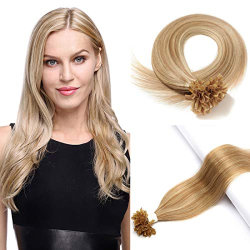 S-noilite U Tip Remy Human Hair Extension Pre Bonded Nail Tipped Hair Piece Italian Keratin U Tip Cold Fusion Extension 100 Strands 24Inch-50g (#12P613 Golden Brown&Bleach Blonde)