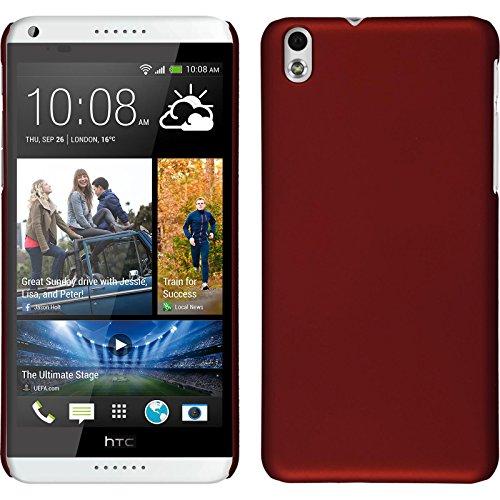 PhoneNatic Case kompatibel mit HTC Desire 816 - Hülle rot gummiert Hard-case + 2 Schutzfolien