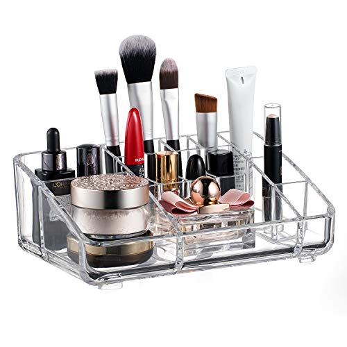 BUDGET & GOOD Makeup Organizers Clear Acrylic Cosmetic Organizer with Brush Holder Makeup Palette Organizer for Dresser Bedroom, 14 Section, Clear
