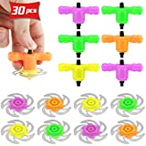 Pralb 30 Pcs Spinning Tops Set Gyro Gyroscope Launchers Bulk Spinning Toys Spinner UFO with Gyroscope (4 Colors)