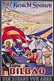 Posterlounge Lienzo 60 x 90 cm: Visited Spain, Bilbao (German) de Travel Collection - Cuadro Terminado, Cuadro sobre Bastidor, lámina terminada sobre Lienzo auténtico, impresión en Lienzo