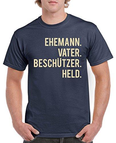 Comedy Shirts - Ehemann. Vater. Beschützer. Held. - Herren T-Shirt - Navy/Beige Gr. XL