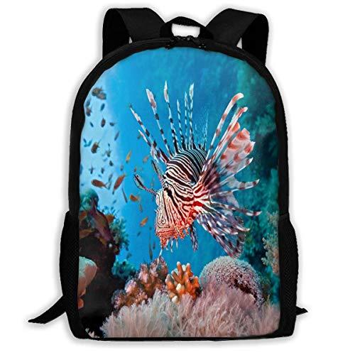 NA Sac à Dos pour Filles et garçons Lionfish are Destroying Our Coral Reefs Fermeture éclair École Bookbag Daypack Travel Sac à Dos Gym Sac pour Homme et Femme