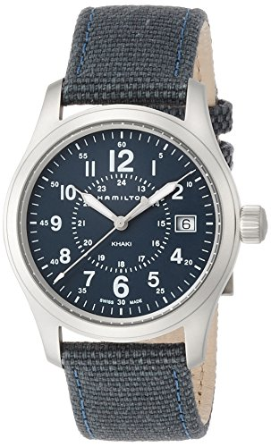 Hamilton Herren Analog Quarz Uhr mit Stoff Armband H68201943