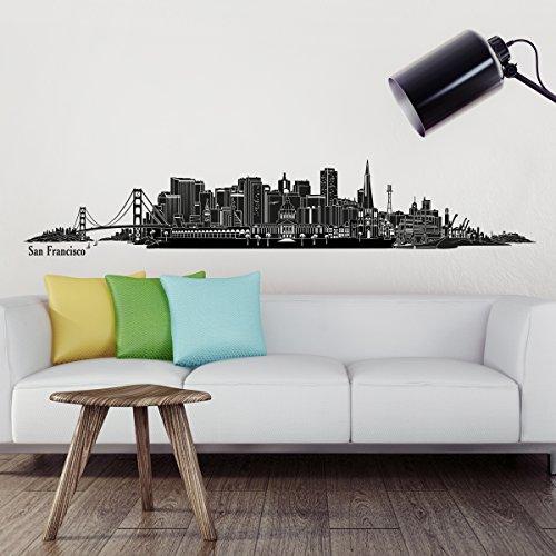 Wandkings Skyline - Deine Stadt wählbar - San Francisco - 125 x 21 cm - Wandaufkleber Wandsticker Wandtattoo