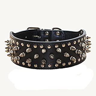 haoyueer Faux Leather Spiked Studded Dog Collar for Medium Large Dogs Pit Bull Mastiff Bully Boxer