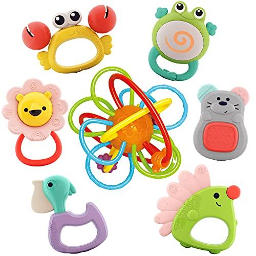 Nene Toys Set de 7 Sonajeros y Mordedores Coloridos para Bebés y Niños a Partir de 6 Meses - Incluye 1 Anillo de Dentición Premium + 6 Divertidos Animales sin BPA - Estimulación Sensorial y Cognitiva