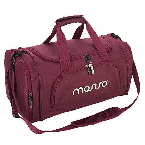 MOSISO Sport Gym Tasche Reisetasche mit Vielen Fächern, Wasserdicht Sporttasche Seesack für Tanzen, Fitness, Sport und Reise mit Schuh Abteil, Weinrot