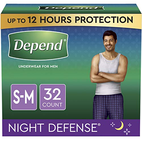 Depend Night Defense Incontinence Underwear for Men, Overnight, Disposable, Small/Medium, 32 Count (2 Packs of 16) (Packaging May Vary)