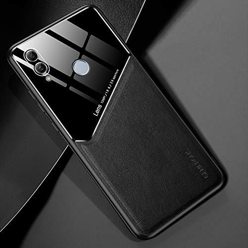 RUNNA para Huawei Honor 10 Lite Cuero Todo Incluido + Funda Protectora de Vidrio orgánico con Chapa de Hierro metálico (Color : Black)