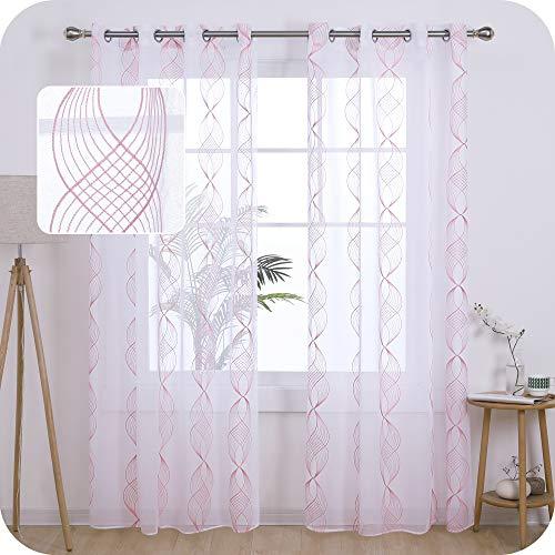 UMI. by Amazon Cortinas Translucidas Decorativas con Motivos Cinta Espiral con Ojales 2 Piezas 140x245cm Rosa