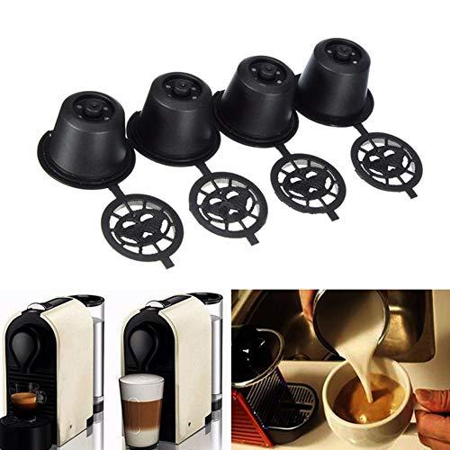 Hilai - 4 capsulas de cafe reutilizables y recargables con cuchara para maquinas Nespresso