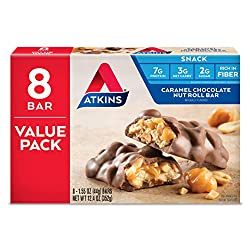 Atkins Snack Bar, Caramel Chocolate Nut Roll, Keto Friendly,...