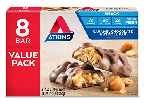Atkins Snack Bar, Caramel Chocolate Nut Roll, Keto Friendly, 1.55 oz, 8 count