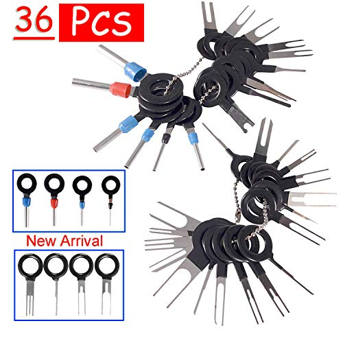 BingSnow 36Pcs Pins Terminals Removal Tools for Car Auto Wire Connector Terminal Pin Extractors Puller Remover Repair Key Tools Set Terminal