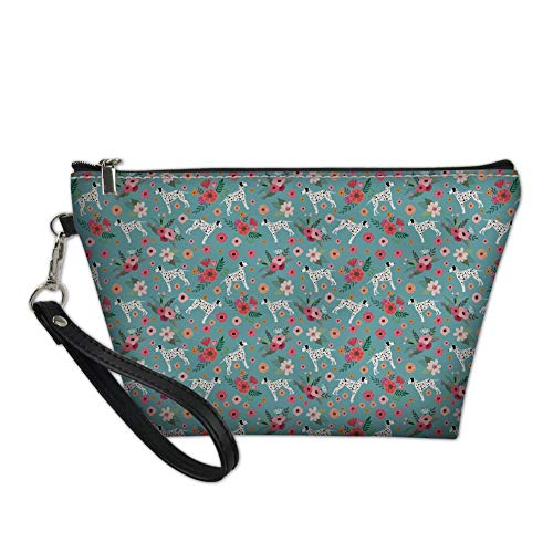Bigcardesigns Fashion Dalmatian Print Zipper Makeup Bags PU Leather Cosmetic Toilet Brush Holder with Handle Portable Travel Clutch