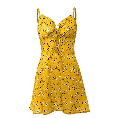 WGNNAA Damen Figurbetontes Kleid Elegant Minikleid Hosenträger Kleid mit Blumenmuster Ärmelloses Strandkleid Festlich Sommer Spaghetti Strap Kleider Rückenfreies Reißverschluss