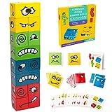 Inpher Holzwürfel Spielzeug Montessori Bunte Lernspielzeug Interaktion Spielzeug Holz-Herausforderung Denktraining Zauberwürfel Bausteine Spielzeug Gesicht ändern Würfel für Kinder über 3 Jahre