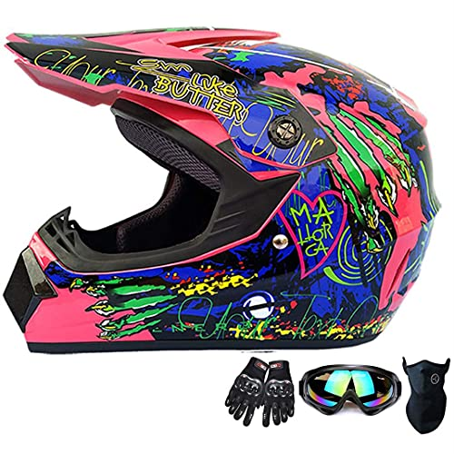 YangMeng Juventud Kids Motocross Casco Engranaje Combo Mascarilla Gafas Guantes, Paw Print ATV ??Casco De Motocicleta SUV Dirt Bike Off-Road Mountain Bike Bike Casco 4 Piezas Set (Small,Pink)