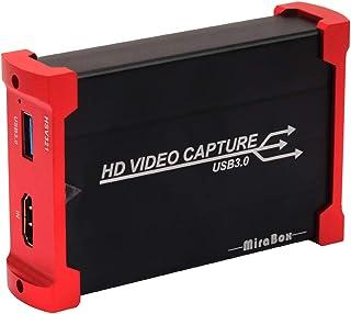 HDMIゲームキャプチャー 最新バージョン USB3.0 Mirabox HD1080p Switch PS4 Xbox Wii U、PS3用 ビデオキャプチャー ゲームライブストリーミング可能 ゲーム録画/ライブ配信用 Windows7/8/10 Linux Youtube OBS Twitch HSV321