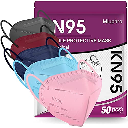 Multiple Colour KN95 Face Mask 50 PCs, Miuphro 5 Layers KN95 Masks, Filter Efficiency≥95% Breathable Masks(Pink,Blue,Red,Purlpe,Grey)