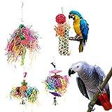 Pappagallo Shredding Giocattoli Strisce di carta colorate Uccello Giocattolo da masticare Tessitura di bambù Uccelli Trituratori Giocattolo Ricerca del cibo Appeso Giocattolo per Budgie Parakeet Cocka