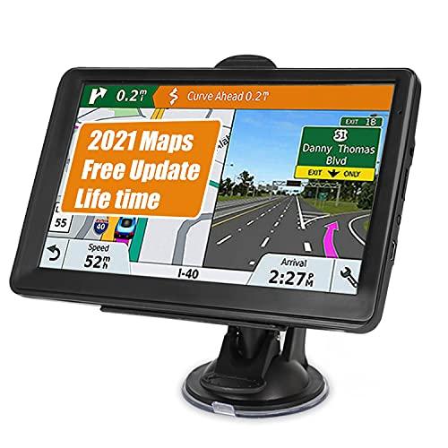 POMILE Navegador satelital Coche para Camión 7 Pulgadas GPS para Coche Camión Actualización Gratis Mapa 8GB ROM + 256MB RAM Pantalla Capacitiva GPS de alta luminosidad para 58 Países Mapa