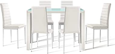 Artiss 7 Pieces Dining Table Set   Tempered Glass Top Dining Table and PVC Leather Upholstery Dining Chairs Set of 6