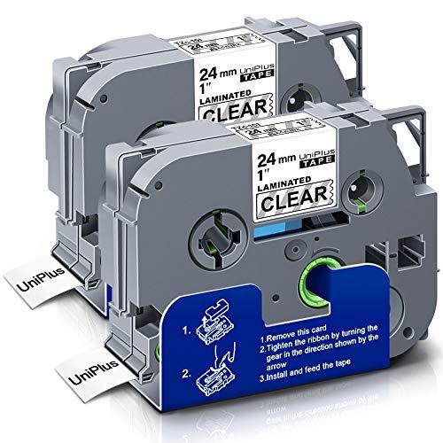 UniPlus Nastri per Etichette Compatibile per Brother TZe 24mm Tze-151 Tze 151 Nastro Laminato per Brother P-Touch PT D600VP E550WVP P700 P750W E550W P900W, 24mm x 8m, Nero su Trasparente, 2 Pack