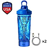 Protein Shaker Bottle, CRSURE Portable Blender Cup Mixer Shaker Cups for Protein Mixes, 24oz Rechargeable Vortex Mixer | BPA Free | 100%Leak Proof, Electric Shake Bottles for Powder.(Blue)