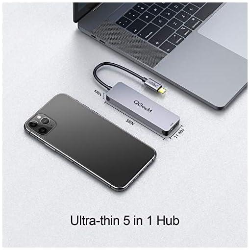 Hub USB C,QGeeM 5 en 1 Tipo C HDMI 4K Adaptador USB C Hub para MacBook Pro iPad, Chromebook, XPS,USB C Dock 6