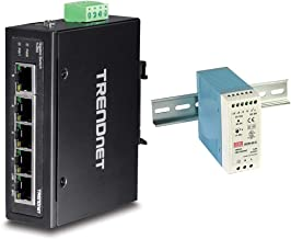 TRENDnet 5-Port Hardened Industrial Gigabit DIN-Rail Switch, TI-G50, 10 Gbps Switching Capacity & Mean Well MDR-60-24 DIN-...