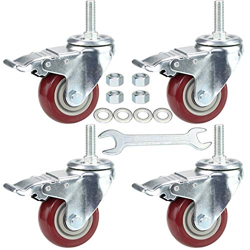 """DICASAL 3 Inch Swivel Stem Casters Heavy Duty American Size 1/2""""-13x1-1/2""""Stem Thread Wheels 360 Degree Durable Wheels Dual Safety Locks Castors with 990 Lbs Capacity Pack of Four"""