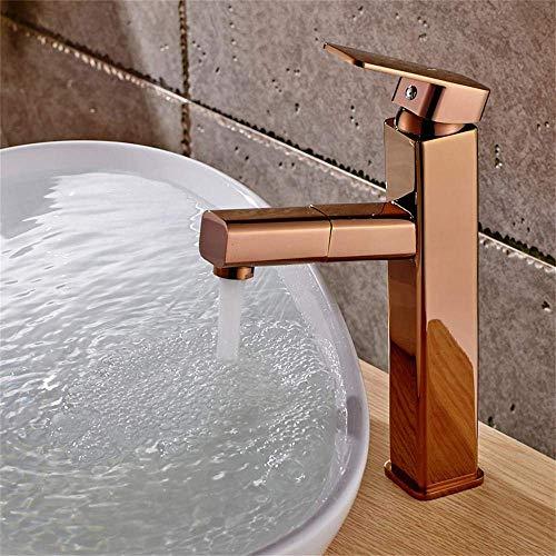 Alle Kupfer Pull Typ Becken Heiß- und Kaltwasser Wasserhahn Arbeitsplatte Becken Quadrat Abgerundeter versenkbarer Roségold Wasserhahn (Farbe: Hoch)