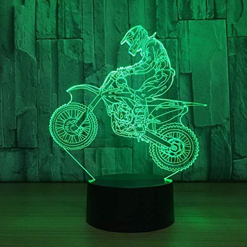3D Lampe Illusion Tisch Schreibtisch Deko Lampe Nachtlicht Stimmungslicht Tischlampen Motocross-Fahrrad 7 Farben ändern Schlafzimmer Home Decoration Geschenk des Kindes