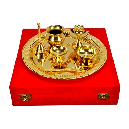 Indian Gold Plated Brass Handmade Decorative Pooja Thali with Box - Set of 7